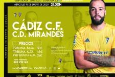 """Cartel J23 Cádiz C.F. - CD Mirandés, dedicado a la Peña Decana del Cádiz, """"Enrique Mateos"""